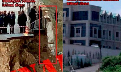 Saleh Məmmədovun villası və sürüşən yoldakı istinad divarlarının fərqi - FOTO